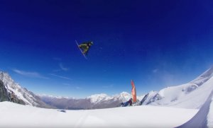 Torstein Horgmo, Marcus Kleveland, Darcy Sharpe, Mark McMorris a Maxence Parrot v Saas Fee